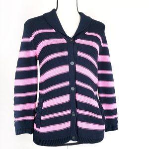 Talbots Navy Pink Stripe Button Up Cardigan